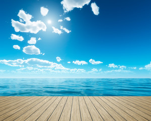 wooden jetty bright sky