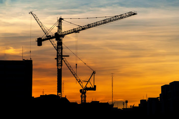 Industrial construction cranes at sunset