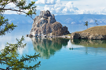 Summer on Lake Baikal. Shamanka rock