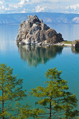 Summer on Lake Baikal. View of the rock of Shamanka