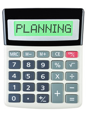 Calculator with PLANNING on display isolated on white background