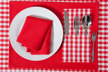 Laid table - red and white checkered