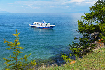 Summer boat cruise on Lake Baikal