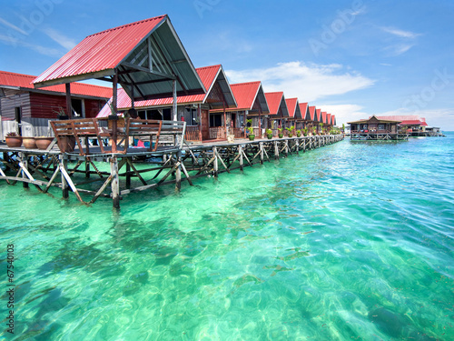 Leinwanddruck Bild Bungalows on Mabul Island, Sabah, Malaysia