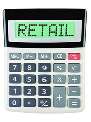 Calculator with RETAIL on display isolated on white background