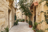 cobbled street in valetta old town malta