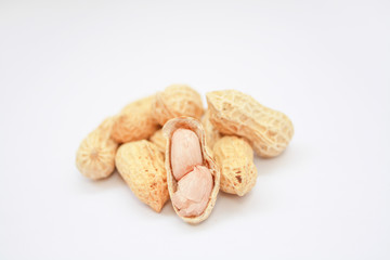 peanut and shell on white background