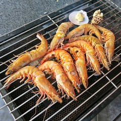 Delicious grilled king prawn