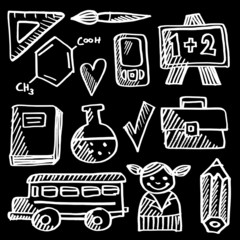Back to school doodle icons set, chalk vector sketches