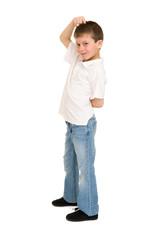 boy posing on white