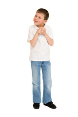 boy posing on white