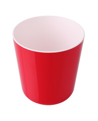 Red plastic bucket on white background.