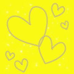 magic white heart on a yellow background
