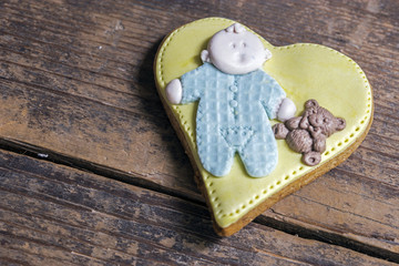Handmade cookies heart with baby
