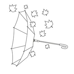 Paraguas invertido hojas líneas