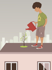 Man watering a rooftop garden in the city