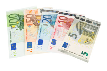 Euro banknotes in hand closeup