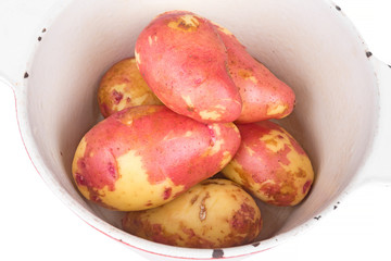 red potatoes in a saucepan