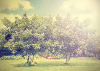 Vintage stylized hammock under trees on sunny day.