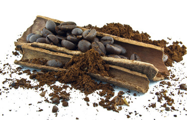 coffee beans,cinnamon and ground coffee