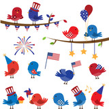 Set of Patriotic Fourth of July Themed Cartoon Birds