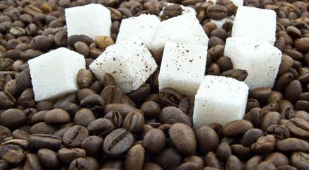 coffee beans, 	   lump sugar and ground coffee