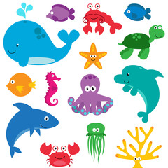 Vector Set of Cute Sea Creatures