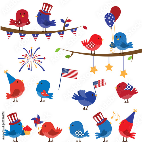 Set of Patriotic Fourth of July Themed Cartoon Birds - 67544176