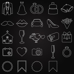 Vector Chalkboard Doodle Style Collection of Wedding Icons