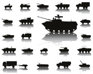Military transport detailed silhouettes set. Vector EPS8