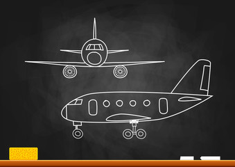 Aircraft drawing on blackboard
