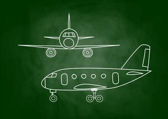 Aircraft drawing on blackboard