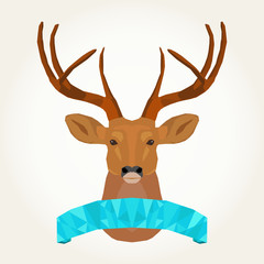 reindeer and flag make with polygons