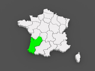 Map of Aquitaine (region). France.