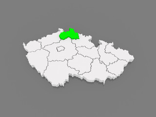 Map of Liberec. Czech Republic.