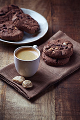 Cup of Espresso and Chocolate Cookies