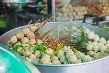 The steam meat ball with stick for sell in Thai style