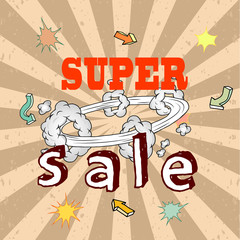 Sale poster with Boom comic strip