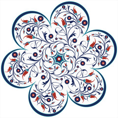 vector traditional ottoman tulip spiral design