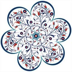 vector traditional ottoman tulip spiral design