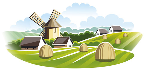 Agricultural landscape. Windmill in field.