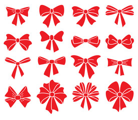 vector collection of red bows on white background