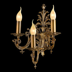 Ornamental vintage wall lamp isolated on black with clipping pat