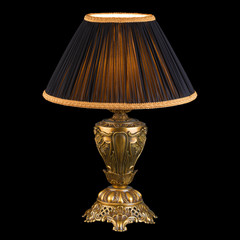 Ornamental vintage table lamp isolated on black with clipping pa