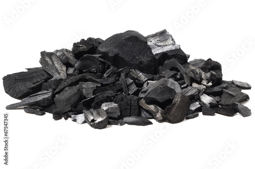 Coal mineral stone background isolated on white - 67547345