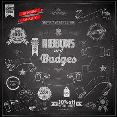 Vintage Ribbon and Badges on chalkboard