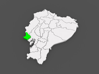 Map of Santa Elena. Ecuador.