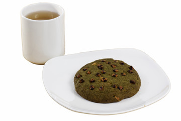 Green tea Cookie served with hot Tea