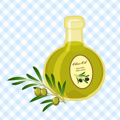 vector illustration with buttle of olive oil