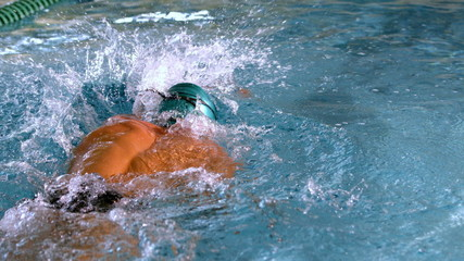 Muscular swimmer doing the front stroke in the pool